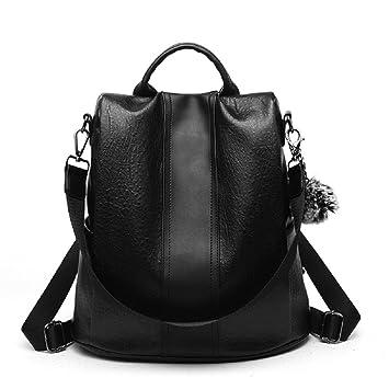 Anti-robo Mujer Mochila de PU Cuero mochila de Bolsa de mano Mochilas Casual Bolsa de viaje,Negro PU: Amazon.es: Electrónica