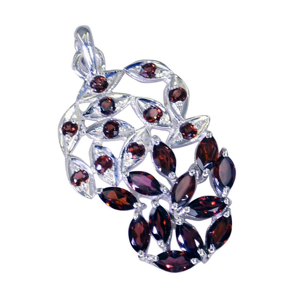 GEMSONCLICK Real Garnet Pendant for Women Gift Sterling Silver Astrological Square Shape Fashion Jewelry