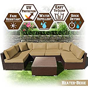 BenefitUSA 7 PC Rattan Wicker Patio Set Outdoor Sectional Sofa Furniture Set With Cushion (Heater Beige)