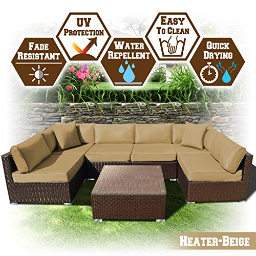 Cheap BenefitUSA 7 PC Rattan Wicker Patio Set Outdoor Sectional Sofa Furniture Set With Cushion (Heater Beige)