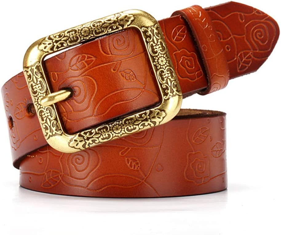 Color : Brown, Size : Free Size Amyannie Waist Belt Ladies Waist Belt Womens Belt Carved Flower Design Vintage Genuine Cowhide Leather with Alloy Buckle for Jeans Womens Belts