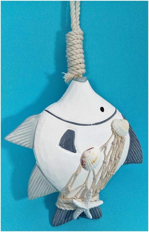 N//A pesce con stella marina e conchiglia da appendere 24 x 19 cm decorazione marittima E107