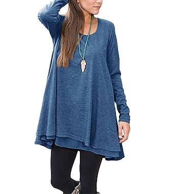 03d0574129d Winfon Tunique Femme Longue Manche Longue Grande Taille Coton Casual Blouse  Top Tee Shirt Longue (