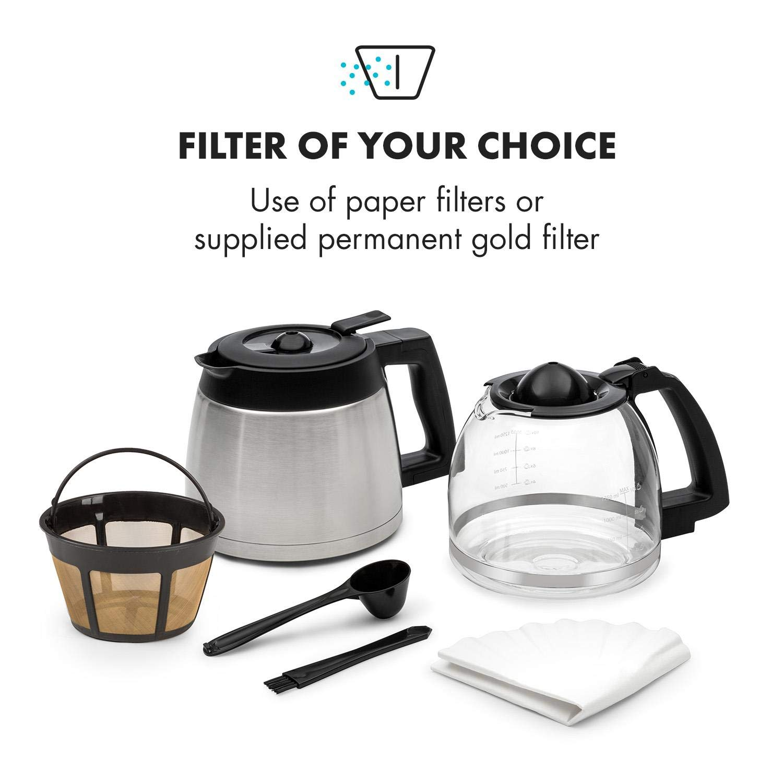 Klarstein Aromatica II m/áquina de caf/é con molino /• M/áquina de caf/é con filtro /• 1000 W /• Jarra de vidrio de 1,25 litros /• Programable 24 horas /• Filtro de carb/ón activo permanente /• Negro