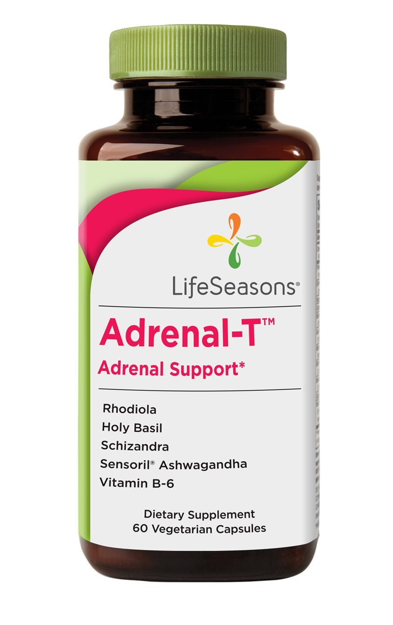 Adrenal -T - Adrenal Fatigue Support Supplement - Helps Lower Cortisol - Avoid Burnout - Aids Stress Management - Energizing - With Ashwagandha (Adaptogens) - LifeSeasons (60 Capsules)