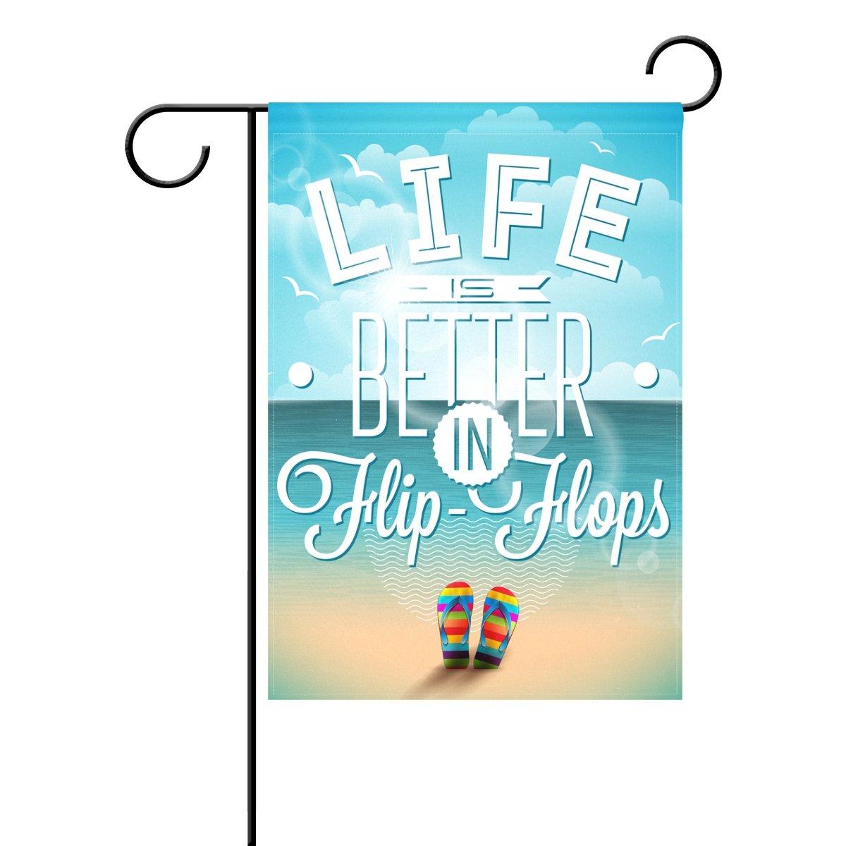 Duble Sided Life is Better in Flip Flops Summer Leisure Beach Sun Sky and Sea Blue White Polyester Garden Flag Banner 12 x 18 Inch for Outdoor Home Garden Flower Pot Decor