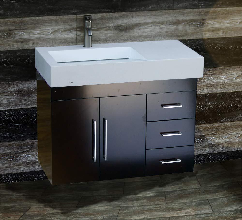 36 Bathroom Wall Mounted Vanity Cabinet Dark Cherry Color Ceramic Top Sink W1 3618 1 Floating Vanity Bathroom Amazon Com Industrial Scientific