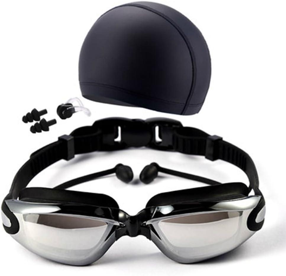 QHYK Gafas de natación, antivaho y Anti protección UV sin Fugas, visión cristalina, con Silicona Swim Cap+Clip de Nariz+Tapones para los oídos+Estuche de Caja Protectora, Equipo Completo