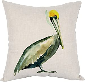 Moslion Pelicans Pillow,Home Decorative Throw Pillow Cover Watercolor Blue Pelicans Cotton Linen Cushion for Couch/Sofa/Bedroom/Livingroom/Kitchen/Car 18 x 18 inch Square Pillow case