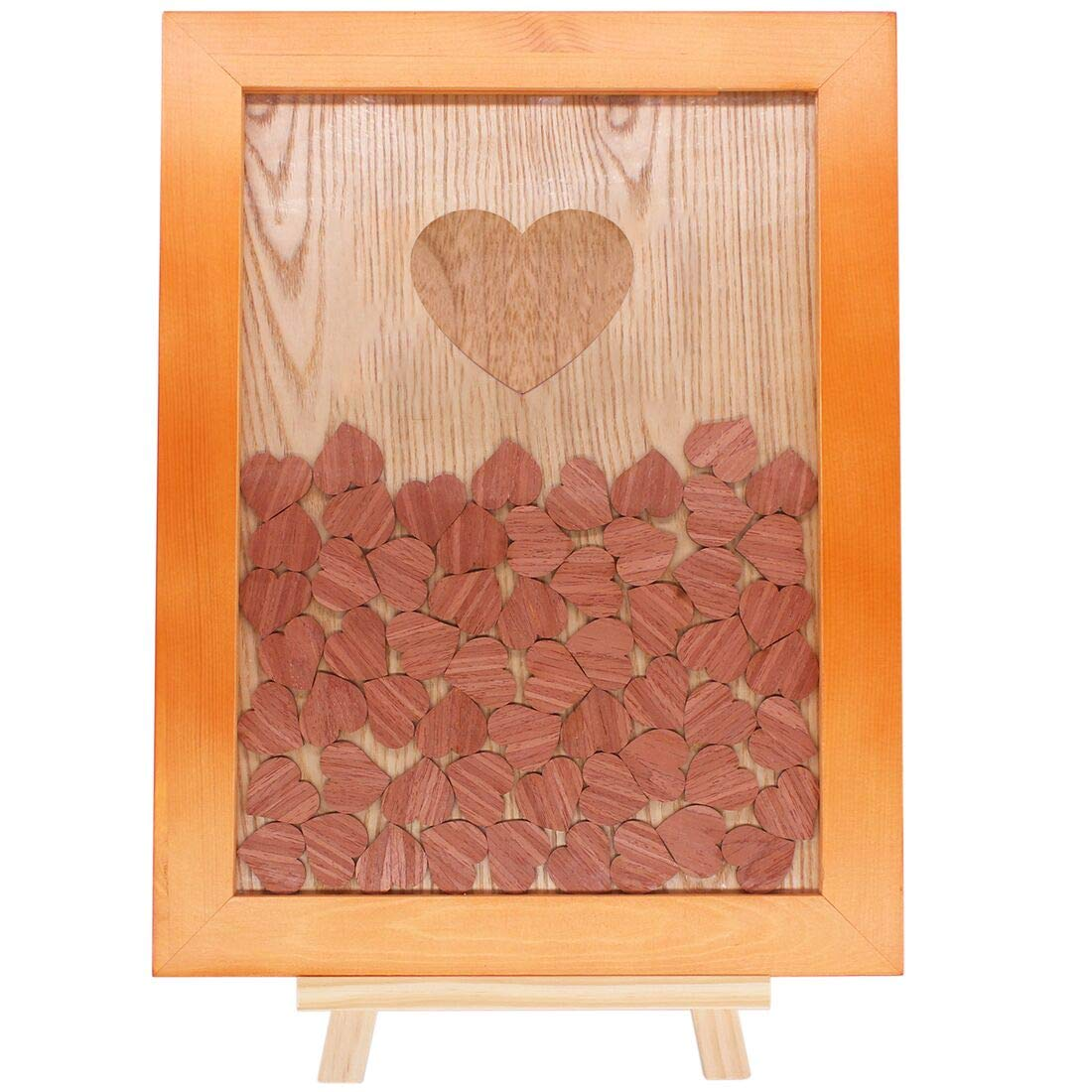 Creawoo Nature Wooden Frame Wedding Guest Book Alternative, Beautiful Wedding Decoration 90pcs Wooden Drop Hearts Include Wood Stand