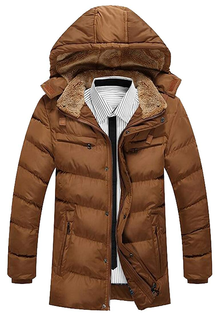 Fensajomon Mens Winter Warm Hooded Faux Fur Collar Down Quilted Coat Jacket Outwear