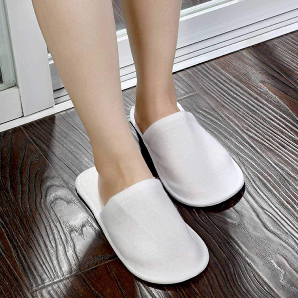 Spa Slippers Disposable, 25 Pairs Salon Hotel Closed Unisex White Bulk Travel Home Indoor Slipper White