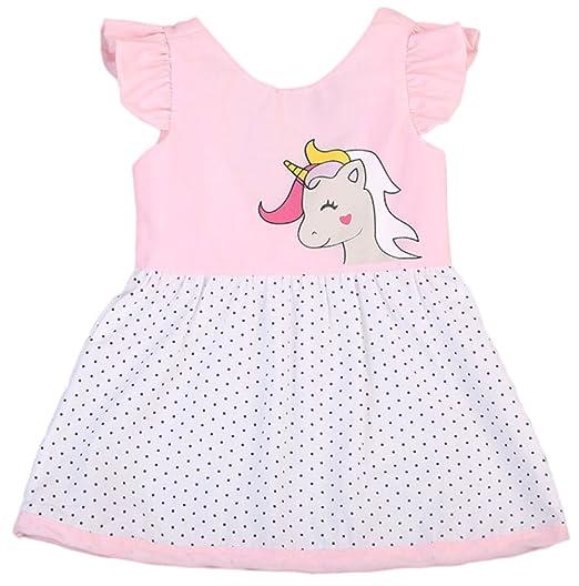 3d471b4398ac Amazon.com  stylesilove Cute Toddler Baby Girl Unicorn Polka Dots ...