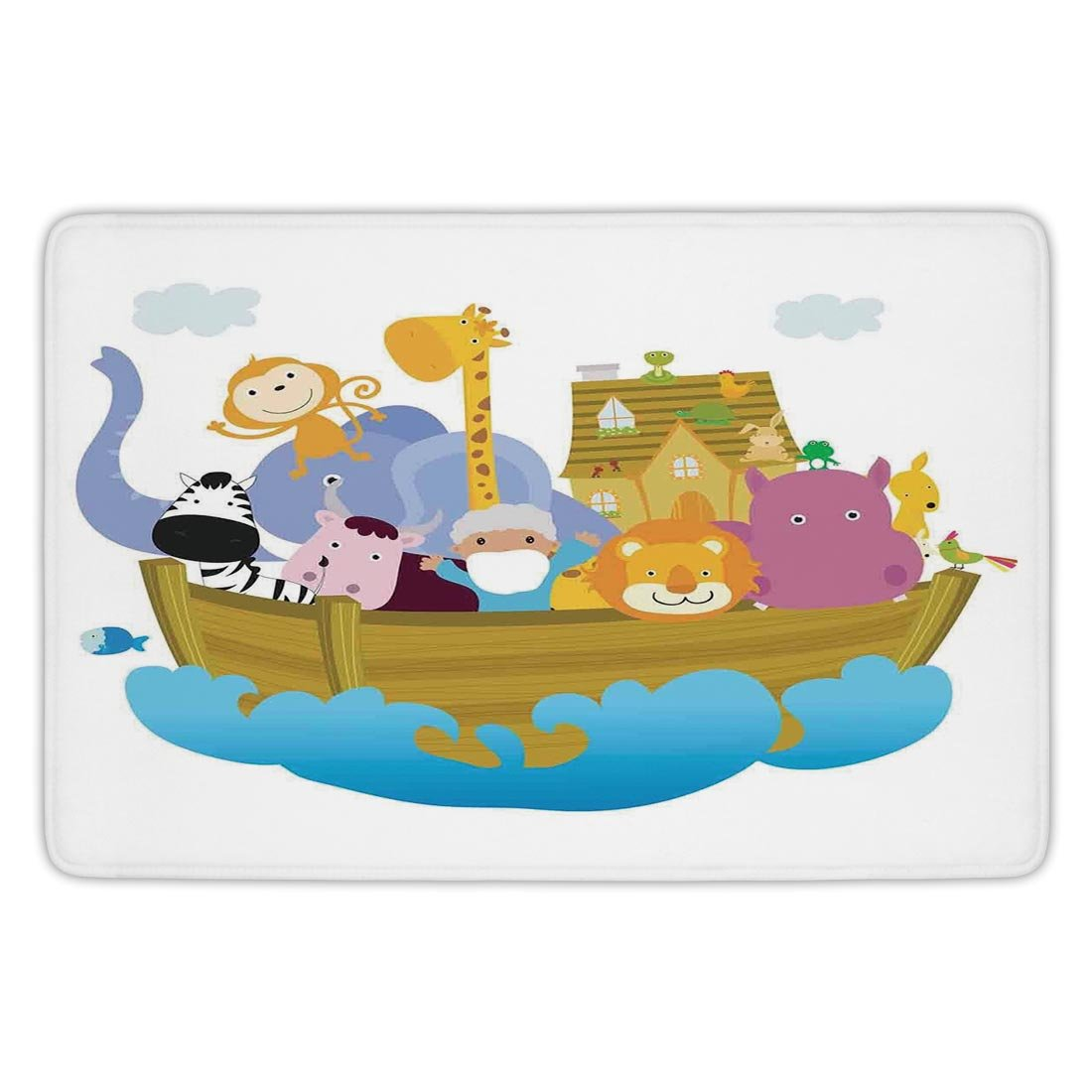 Bathroom Bath Rug Kitchen Floor Mat Carpet,Religious,Religious Story the Ark with Set of Animals in the Boat Journey Faith Cartoon,Multicolor,Flannel Microfiber Non-slip Soft Absorbent