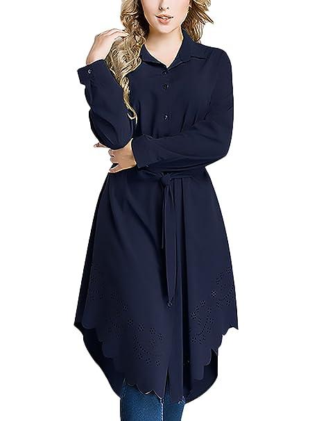 Mujer Camisas Manga Larga Cuello Solapa Suelto Irregular Elegantes Clásico Especial Estilo Etnicas Informal Casual Medium