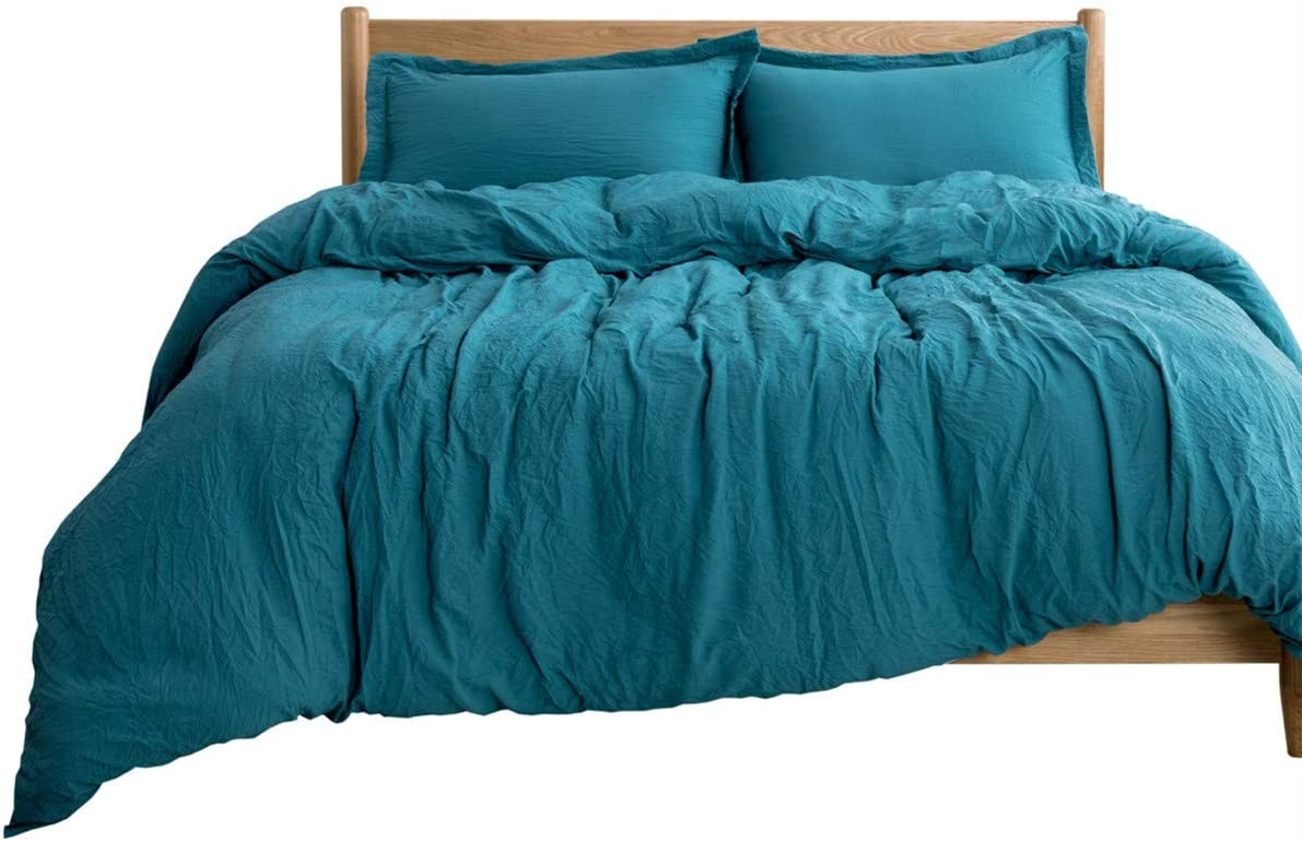 Bedsure Washed Duvet Cover Set Full/Queen Size with Zipper Closure Teal, Ultra Soft Hypoallergenic Comforter Cover Sets 3 Pieces (1 Duvet Cover + 2 Pillow Shams), 90x90 inches
