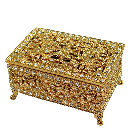 Beautiful Ornate Victorian Design Vanity Rectangle Jewelry Box in Hand Painted Enamel and Embellished with Genuine Crystals. (Two Tone Gold)