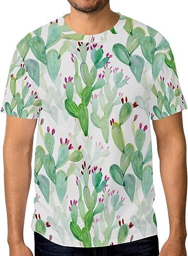Camiseta de manga corta para hombre, diseño de cactus, color verde: Amazon.es: Ropa y accesorios