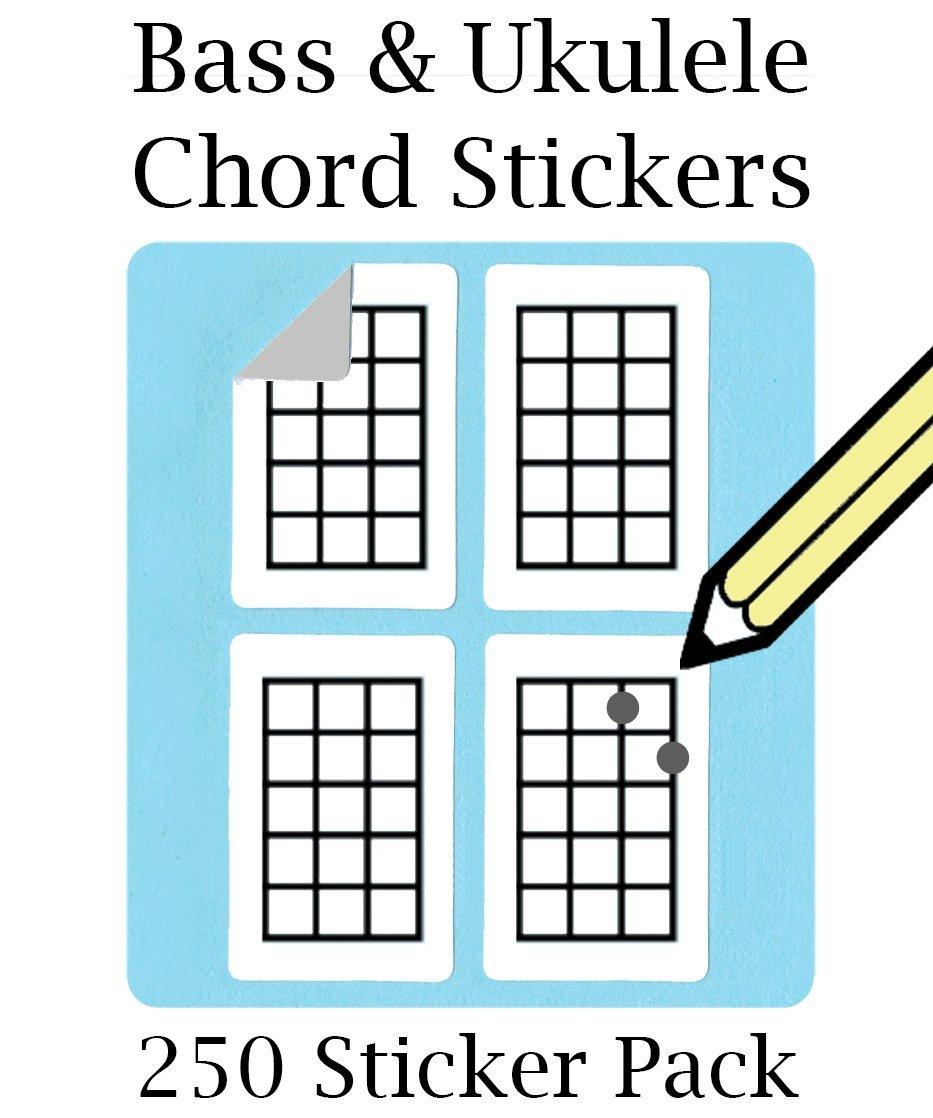 Bass, Ukulele & Mandolin Chord and Tablature Fingering Stickers (250 Pack) Uke 10798958