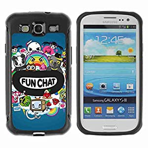 A-type Arte & diseño Anti-Slip Shockproof TPU Fundas Cover Cubre Case para Samsung Galaxy S3 III / i9300 / i717 ( Funny Chat Colorful Creatures )