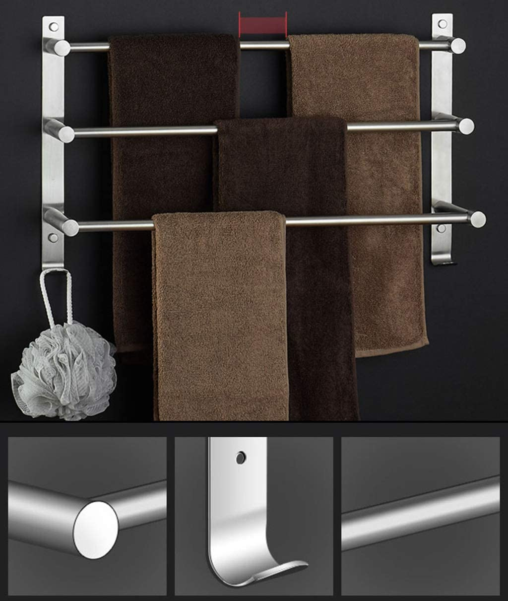 FEFCK Wall-mounted Towel Rack 304 Stainless Steel, Three-tier Toilet Rack Bathroom Multi-layer Hanging Rod With Two Hooks 70cm 60cm
