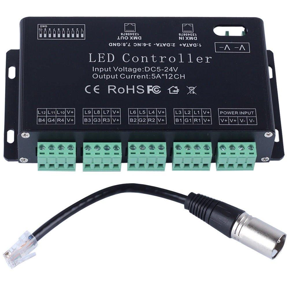 Wosonku DC5V-24V 12Channel RGB DMX LED controller DMX decoder&driver LED strip module