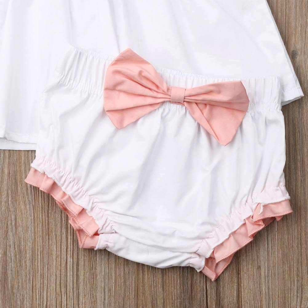 Shorts Pants Two-Piece Clothes Toddler Girl Outfits Ruffle Short Sleeve Pleated Dress Top