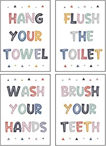 4 PCS Colorful Washroom Rules Decorations, Brush Wash Flush Bathroom Sign for Kids, Funny Wall Decals Quotes, Motivational Washroom Signs Decor for Toilet, Bathroom Wall Sticker (Unframed)