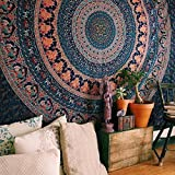Bless International Indian-hippie-gypsy Bohemian-psychedelic Cotton-mandala Wall-hanging-tapestry-multi-color Large-mandala Hippie-tapestry (King(88x104Inches)(225x265Cms))