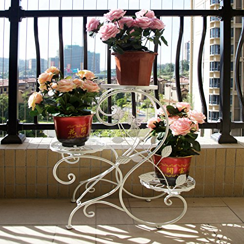 SY Classic Flower Racks Plant Stand 3-Tiered Scroll Decorative Plant Racks Metal Plant Stands Potted Plant Stand Flowers Plant Display Rack (Scroll Design Pot)