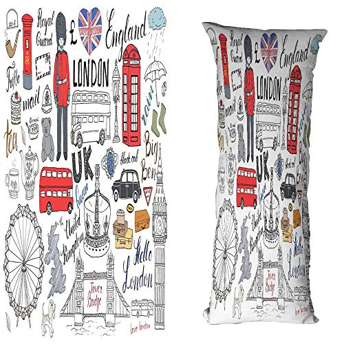 Double Cushion Booth - Creative Pillowcase Doodle I Love London Double Decker Bus Telephone Booth Cab Crown of United Kingdom Big Ben Cushion W16 xL47 Multicolor