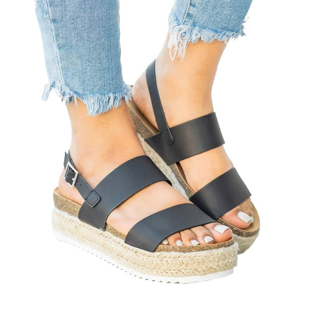 FIRENGOLI Women's Platform Sandals Casual Espadrilles Flatform Ankle Buckle Strap Open Toe Slingback Summer Sandals (Black,8 UK)