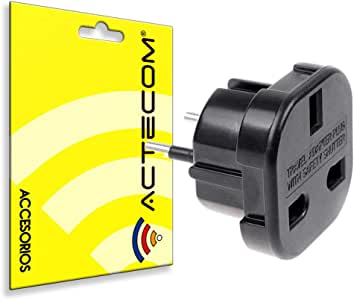 actecom Adaptador Corriente Enchufe UK Ingles Reino Unido A Europeo Redondo UE Universal: Amazon.es: Electrónica