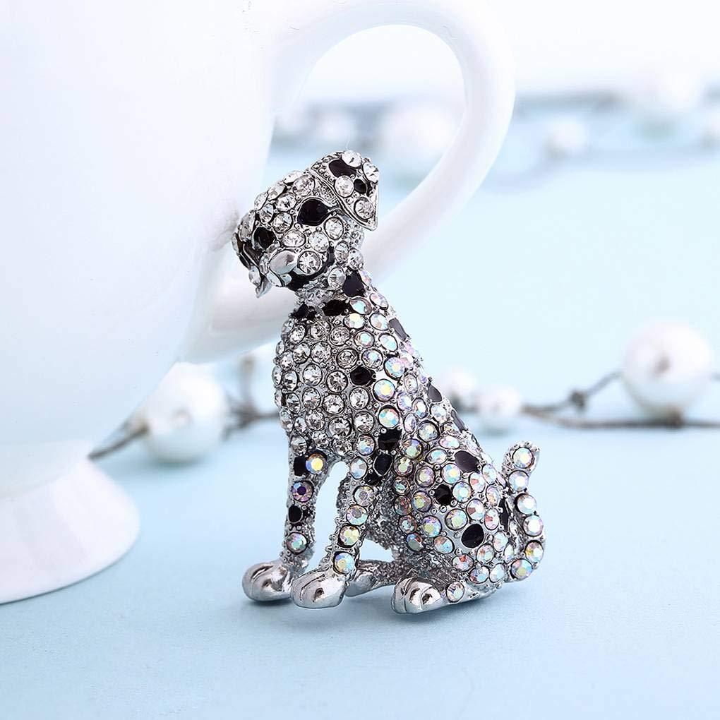Bobury Piccolo cane a forma di regalo di compleanno gioielli spilla di strass Decor Lega Breastpin Vestiti Pin Donne Ragazze