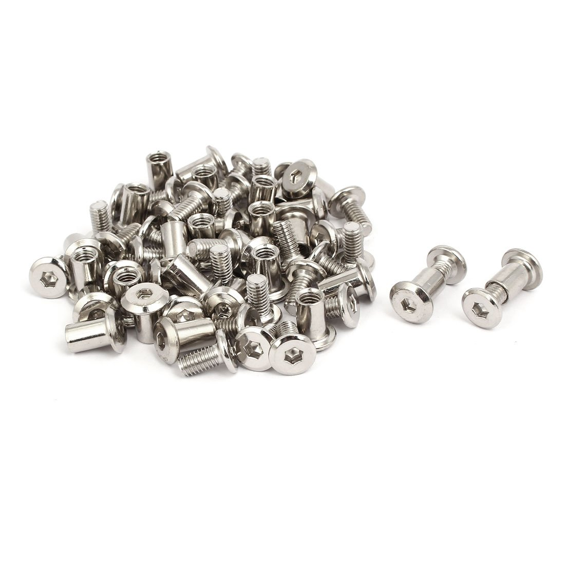 uxcell M6x12mm Male Thread Cupboard Cabinet Socket Hex Screw Post Silver Tone 30pcs