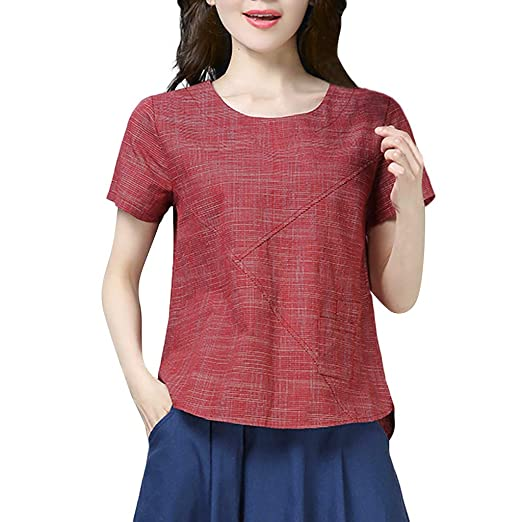4b5cf820 Tops for Women Linen O-Neck Short-Sleeved Solid T-Shirt Casual Loose Pocket  Blouse at Amazon Women's Clothing store: