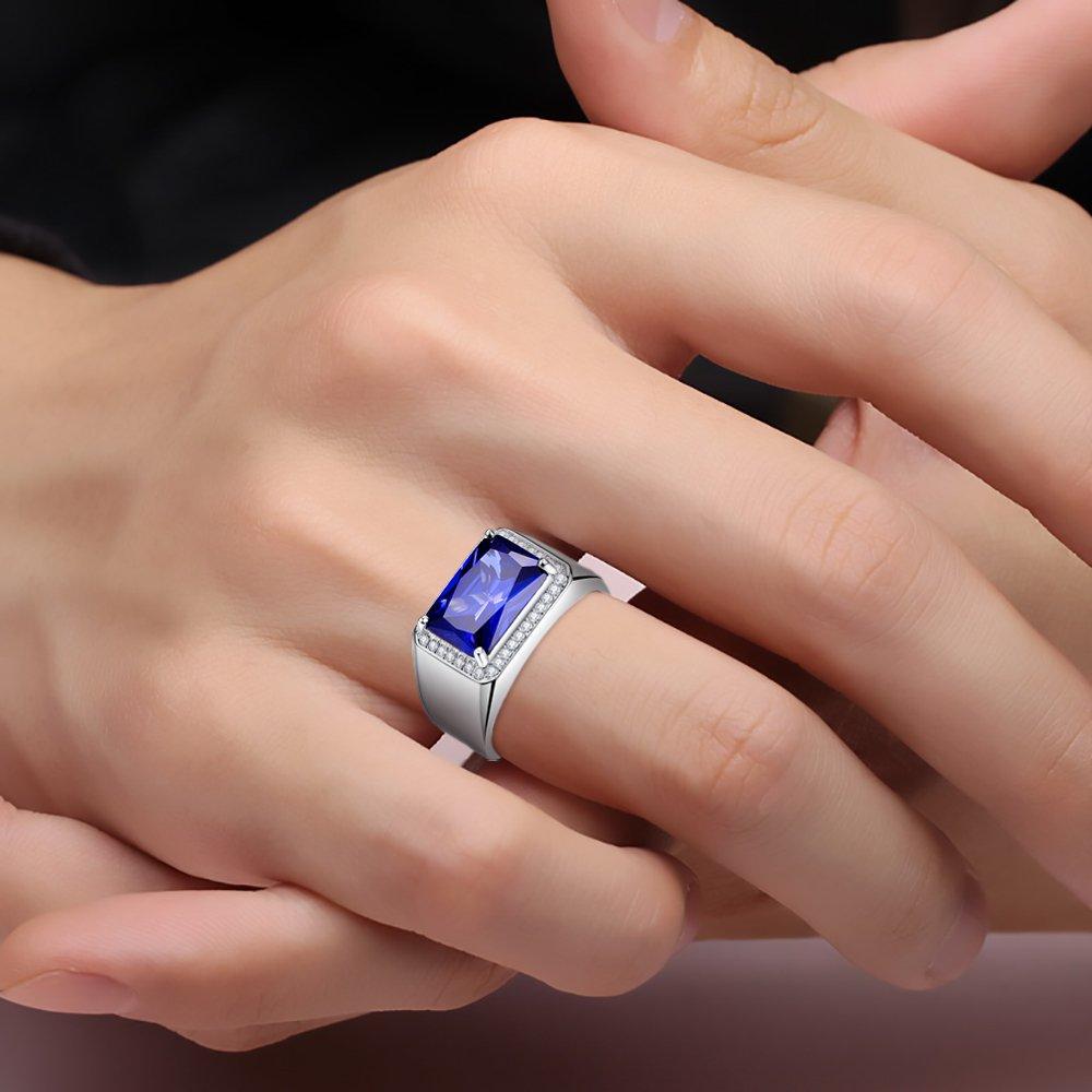 BONLAVIE 7.0ct Square Created Blue Sapphire 925 Sterling Silver Men's Ring Size 6 by BONLAVIE (Image #7)