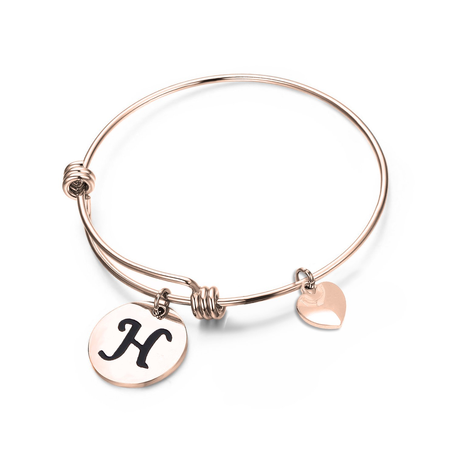 MAOFAED Initial Bracelet,Rose Gold Letter Bracelet, Personalized Jewelry, Hand Stamped Jewelry B076WMZ9ND_US