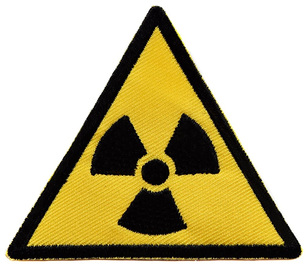 topt mili Ecusson panneau signalisation brod/é thermocollant patch nucleair radioactif radioactivit/é nuclear 7cm biker