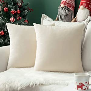 MIULEE Pack of 2, Velvet Soft Solid Decorative Square Throw Pillow Covers Set Cushion Cases Pillowcases for Christmas Couch Sofa Bedroom Car18 x 18 inch 45 x 45cm
