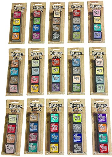 Ranger Tim Holtz Distress Mini Ink Pad Kits - #1-15, Super Bundle of all 60 ()
