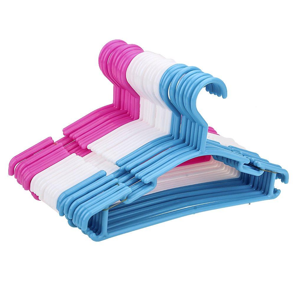 Balala Kids Hangers -30 Pack, 11 inch Wide, White, Blue, Pink