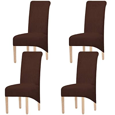 Stretch Spandex Knit Jacquard Chair Slipcovers Dining Room Seat Cover 4pcs