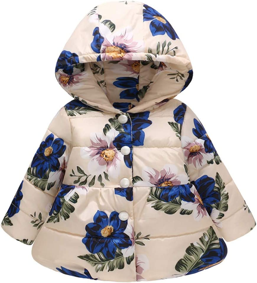 Longra/® Clearance Baby Jackets,Girls Boys Floral Thick Warm Jacket Hooded Overcoat Toddler Infant Thick Warm Cotton Hooded Jacket for 0-3 Years Old Kids Outwear
