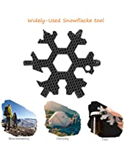 18-in-1 Snowflake Multitool, Stainless Portable Steel Multi-Tool for Outdoor Travel Camping Adventure Daily Tool (Black)