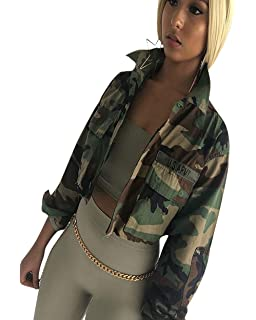 c5f7fb4e5c924 RRINSINS Women Fashion Lapel Long Sleeves Camouflage Print Loose ...