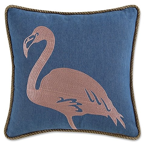 Square Throw Pillow Embroidered Flamingo in Navy/Pink by Coastal Living