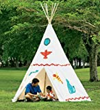 Family-Sized Teepee, Cotton Canvas and Wood - White - 12'H x 9-1/2'W