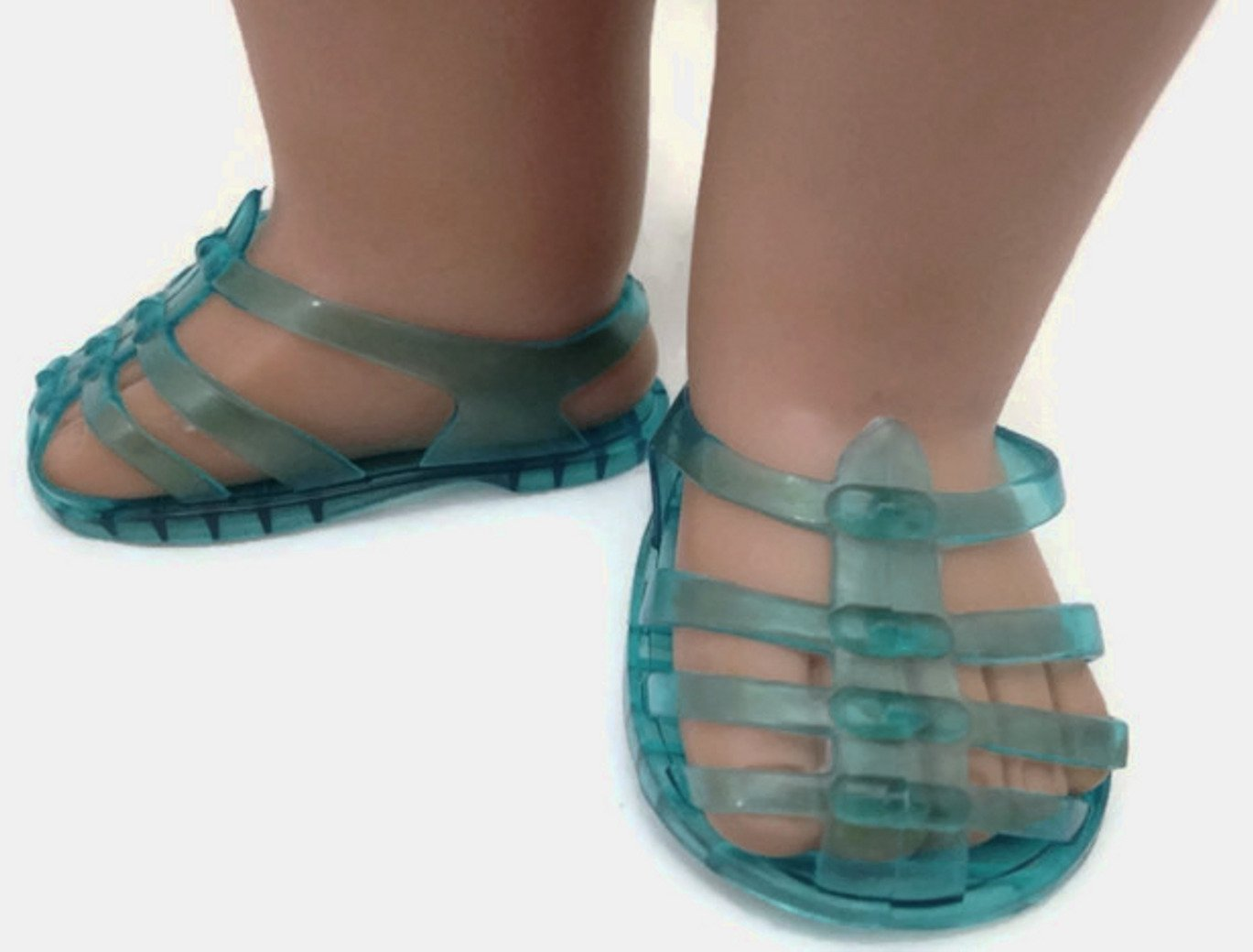Doris Doll Boutique Doll Shoes Fit American Girl Doll and Other 18 Inch Dolls Turquoise Jelly Sandals
