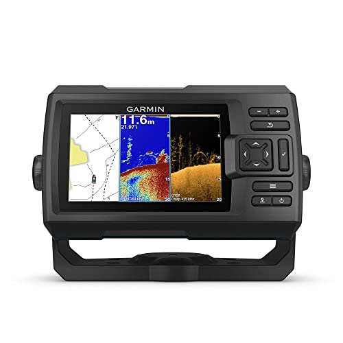 "Garmin Striker 5cv with Transducer, 5"" GPS Fishfinder with Chirp Traditional and ClearVu Scanning Sonar Transducer and Built in Quickdraw Contours Mapping Software"
